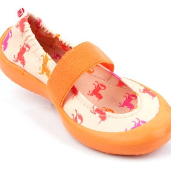 1c4f53300bfe Toddler orange unicorn print slip on shoes